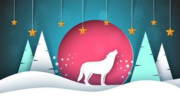 Einsamer Wolf heult zum Mond. Fröhliche Weihnachten und frohes Neues. Winter-Papierillustration.