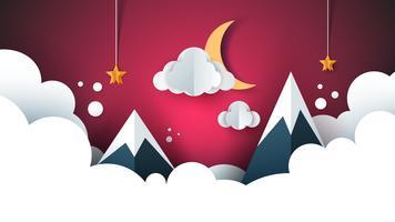 tecknadpapper landskap. Berg, moln, måne, stjärna.