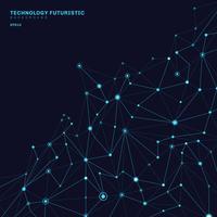 Abstrakta polygonala former på mörkblå bakgrund bestående av linjer och punkter i form av planeter och konstellationer teknik begrepp. Digital internetanslutning.
