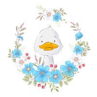 Postkartenplakat eines niedlichen Entleins in einem Kranz von Blumen. Handzeichnung. Vektor