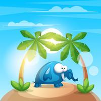 Gullig, rolig elefant - cartoon charater illustration.
