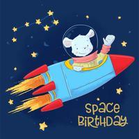 Vykortaffisch av gullig astronautmus i rymden med konstellationer och stjärnor i tecknadstil. Handritning
