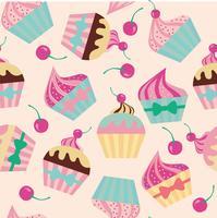 Tårta med körsbär sömlös mönster Vektor illustration