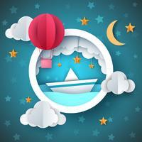 Luftballong, skepps illustration. Tecknat havslandskap. vektor