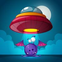 Zeichentrickfiguren Horror. UFO-Abbildung. Cartoon Landschaft.