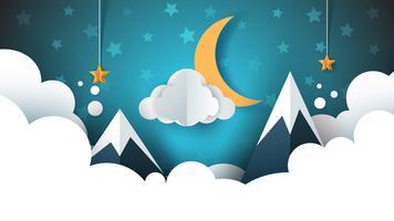 Nattlandskap - tecknad illustration. Moln, berg, måne, stjärna.