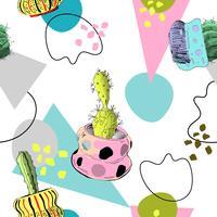 Memphis sömlösa mönster med kaktusar. vektor