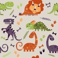 Nahtloses Dino-Muster, Druck für T-Shirts, Gewebe, Packpapier, Netz. Ursprünglicher Entwurf mit T-Rex, Dinosaurier.