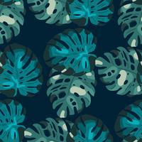Tropiskt sömlöst mönster med exotiska löv.