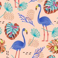 Tropiskt sömlöst mönster med flamingos och exotiska blad.