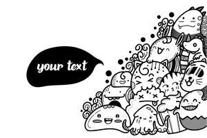 söt monster doodles tecknad graghic vektor.