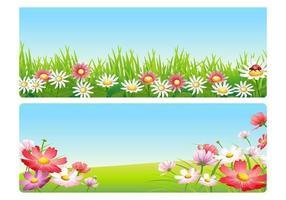 Rosa Frühlingsblumen-Landschaftsvektor-Satz