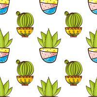 Nahtloses Muster von Kakteen und von Succulents in den Töpfen.