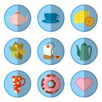 Icon set mit Tee im flachen Stil