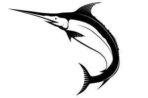 Segelfisch-Schattenbildvektor lokalisiert auf weißem backgroud.