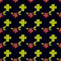 Kreuze und Blumen in einem alten Tattoo. Der Tag der Toten. Ein nahtloses Muster auf einem schwarzen Hintergrund.