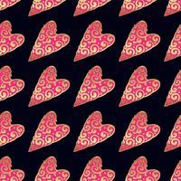 Nahtloses Vektorgoldmuster mit Herzen. Vektor-illustration