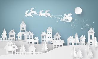 Illustration av jultomten på himlen som kommer till staden