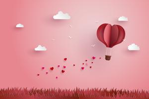 Origami machte Heißluftballon und Wolke vektor