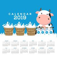 Kalender 2019 mit süßen Kühen.