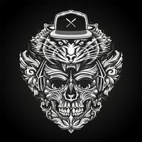 Verzierter Schädel in den Kopfhörern und Tiger Head in Snapback