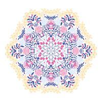 Esoterische mit Blumenmandala der runden Verzierungsweinlese.