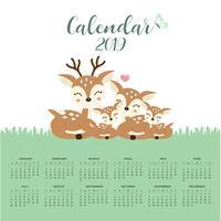 Kalender 2019 mit niedlicher Rotwildfamilie.