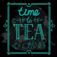 ikonuppsättning med te i platt stil vektor
