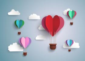 varmluftsballong i hjärtform. vektor