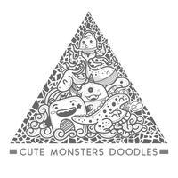 söt monster klotter i triangeln stil ram vektor.