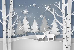 Hirsch im Wald mit Schnee.
