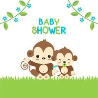 Babypartygrußkarte mit Mutter- und Babyaffen. vektor