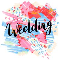Bröllop, handritade etiketter för gratulationskort, vektor