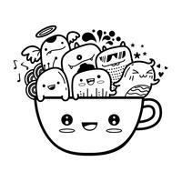 Nettes monter der Kaffeetasse kritzelt Hintergrund Vektorillustration.