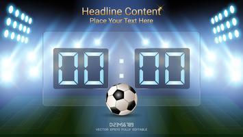 Digitale Zeitanzeigetafel, Fußballspielteam A gegen Team B, grafische Schablone der Strategiesendung.