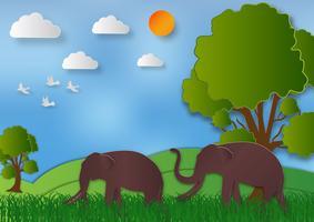 Papper konst stil Landskap med elefant och träd I naturen rädda världen och ekologi idé abstrakt bakgrund, vektor illustration
