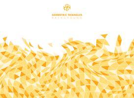Abstrakt gul geometrisk triangelstruktur förvrängd bakgrund och textur med kopia utrymme.