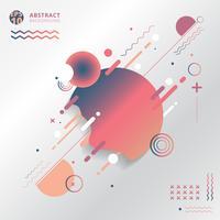 Abstraktes geometrisches kreatives mit Linien, Kreis, Welle, gewellt, auf weißem Hintergrund.