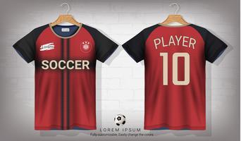 Fußballtrikot- und T-Shirt-Sportmodellschablone, Grafikdesign für Fußballausrüstung oder Activewearuniformen.
