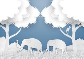 Papper konst stil av landskap med elefant och träd I natur ekologi idé abstrakt bakgrund, vektor illustration