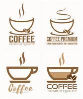 Satz des Kaffeeaufklebers Logo, Ausweis, Emblemsammlung auf weißem Hintergrund.