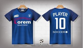 Fußballtrikot- und T-Shirt-Sportmodellschablone, Grafikdesign für Fußballausrüstung oder Activewearuniformen. vektor