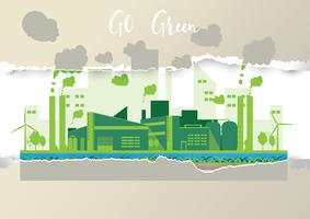 Eco industrielle Fabrik in einem flachen Stil
