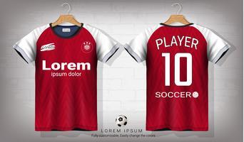 Fotbollströja och t-shirt sportmockupmall, Grafisk design för fotbollsutrustning eller aktiva uniformer