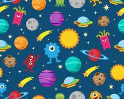 Seamless mönster av främling med ufo och planet i rymdgalax bakgrund - Vektor illustration