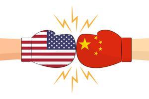 Boxhandschuhe zwischen USA- und China-Flaggen auf weißem Hintergrund - Vector Illustration