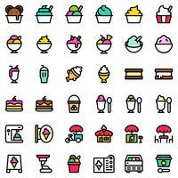 Glass ikonuppsättning, fylld redigerbar skiss