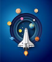 Weltraumraketenstart und Galaxie. vektor