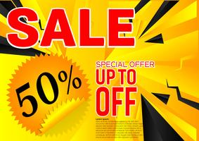Sonderangebot des Vektorfahnen-Verkaufs. Abstrakter schwarzer und gelber Farbhintergrund. Design Konzept vektor