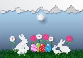 Dekorative Ostereier auf grünem Gras und weißer Wolke, Vektorillustration vektor